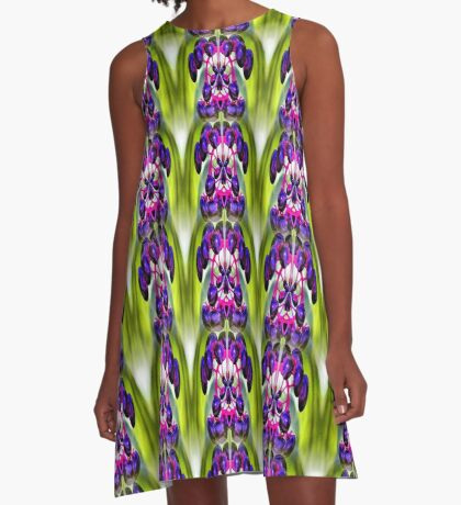 Purple Berries Abstract Nature Art A-Line Dress