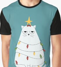 Grumpy Christmas Cat Graphic T-Shirt