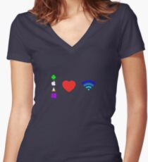 OS love Wifi full color Women's Fitted V-Neck T-Shirt