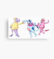 Cows Frolic in the Snow Canvas Print