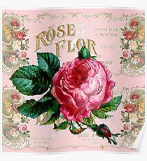 Vintage Paris Rose Poster