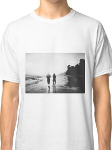 walking on the with sunset light in black and white Classic T-Shirt