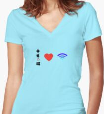 OS Love Wifi color Women's Fitted V-Neck T-Shirt