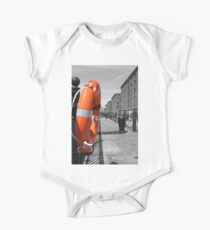 Lifesaver / Lifering Next To The River Mersey, Liverpool, Merseyside Short Sleeve Baby One-Piece