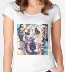 Irish Wolfhound Dog Bright colorful pop dog art Women's Fitted Scoop T-Shirt