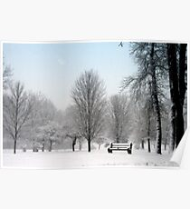 The Park Bench In Winter Poster