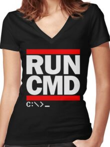 RUN CMD C:\>_ Women's Fitted V-Neck T-Shirt