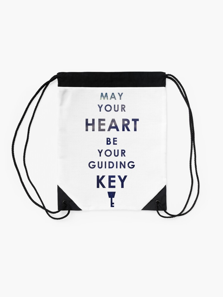 Alternate view of May your Heart be your guiding Key Drawstring Bag