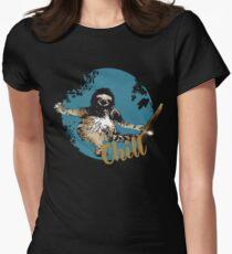 faultier live slow chill out faulenzen abhängen nerd geek grinsen Womens Fitted T-Shirt