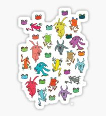 pattern with goats and frogs Sticker