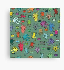 pattern with goats and frogs Canvas Print