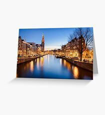 Winter sunset in Amsterdam Greeting Card