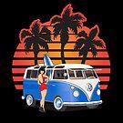 Hippie Split Window VW Bus Blue Palms Girl Sunset by Frank Schuster