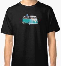 Hippie Split VW Bus Teal & Surfboard Peace Classic T-Shirt