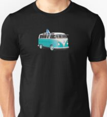 Hippie Split VW Bus Teal & Surfboard Peace T-Shirt