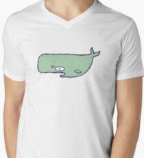 Cute sketchy cartoon blue whale Men's V-Neck T-Shirt