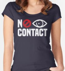 No Eye Contact - Cancel Sign Anti-Social Person Women's Fitted Scoop T-Shirt