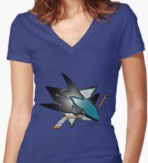 The San Jose Sharks Design Women's Fitted V-Neck T-Shirt