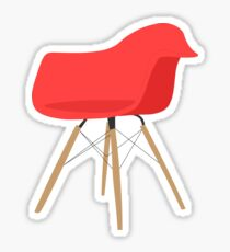 Eames Molded Plastic Armchair (DAW) Red Sticker