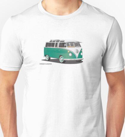VW Bus T2 Samba Green Wht Hippie Van T-Shirt