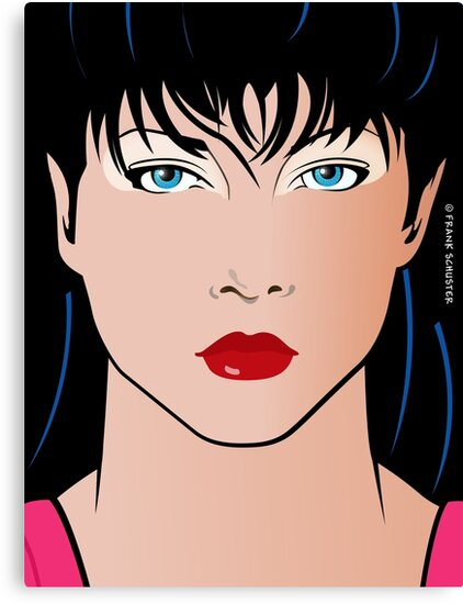 Pop Art Illustration of Beautiful Woman Amber Pop Art Girl by Frank Schuster