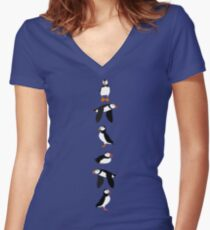 Puffins! Women's Fitted V-Neck T-Shirt