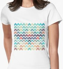 Watercolor Chevron Pattern Women's Fitted T-Shirt