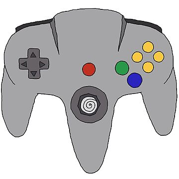 N64 Controller Illustration Nintendo Inspired Drawling Old School Video Game Sticker T-Shirt Phone Case by blueversion