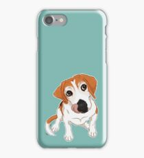 Hungry Beagle Dog - Blue Background / hound dog food foodie treats cute begging dog art artwork iPhone Case/Skin