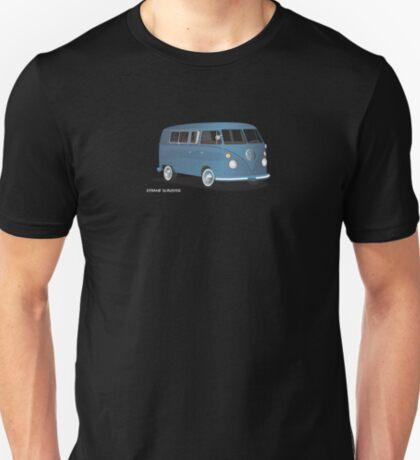 VW Bus T2 Transporter Blue Hippie Van T-Shirt