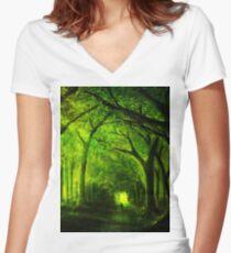 green forest zelda Women's Fitted V-Neck T-Shirt