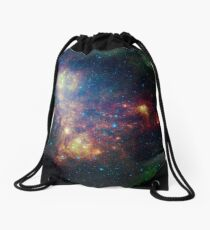 Infrared portrait revealing the stars and dust of the Small Magellanic Cloud. Drawstring Bag