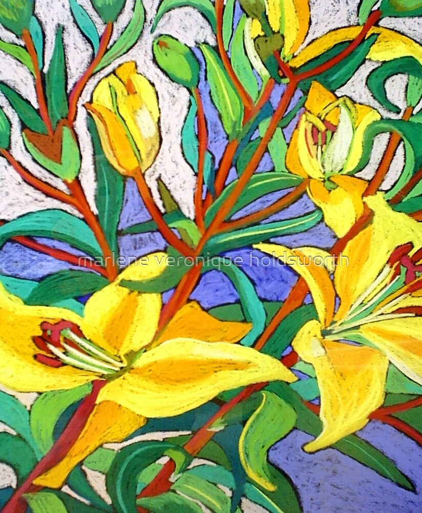 Yellow Lily by marlene veronique holdsworth