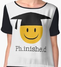 Ph.inishe.d Phd Doctoral Cap Smiley Chiffon Top