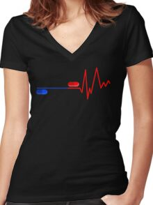 Blue Pill Red Bill Women's Fitted V-Neck T-Shirt