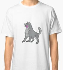 Timber Wolf Holding Plumeria Flower Drawing Classic T-Shirt