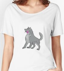 Timber Wolf Holding Plumeria Flower Drawing Women's Relaxed Fit T-Shirt