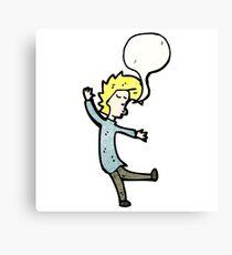 cartoon dancing blond man Canvas Print