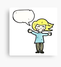 happy blond woman with speech bubble Canvas Print