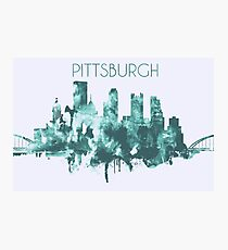 Pittsburgh Skyline Poster, Wall Decor, Artistic Modern City Print Decoration in Blue Photographic Print