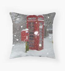 Red Telephone Box. Winter. England. Throw Pillow