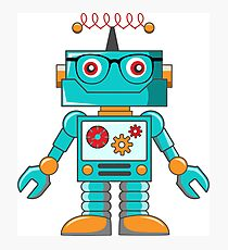 hipster robot, mr. robot, robot, scifi, funny robot, machine, cartoon robot Photographic Print