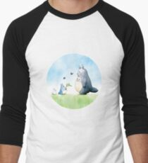 Totoro with butterflies #2 Men's Baseball ¾ T-Shirt