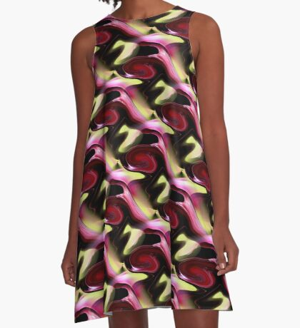 Maroon And Green Abstract Art Design A-Line Dress