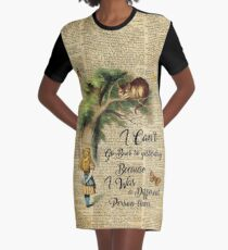 Alice in Wonderland Quote,Cheshire Cat,Vintage Dictionary Art Graphic T-Shirt Dress