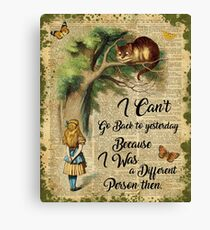 Alice in Wonderland Quote,Cheshire Cat,Vintage Dictionary Art Canvas Print