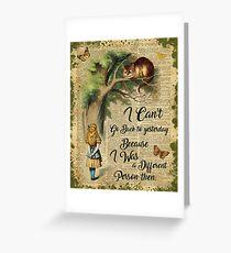 Alice im Wunderland Zitat, Cheshire Cat, Vintage Wörterbuch Kunst Grußkarte