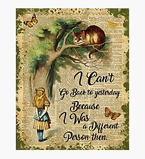 Alice in Wonderland Quote,Cheshire Cat,Vintage Dictionary Art Photographic Print