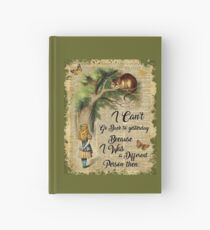 Alice in Wonderland Quote,Cheshire Cat,Vintage Dictionary Art Hardcover Journal