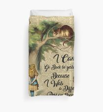 Alice in Wonderland Quote,Cheshire Cat,Vintage Dictionary Art Duvet Cover